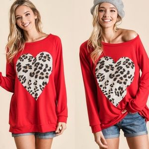 DANNY Leopard Heart French Terry Top
